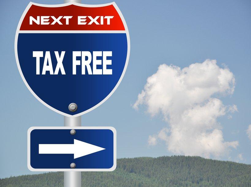 Tax free road sign